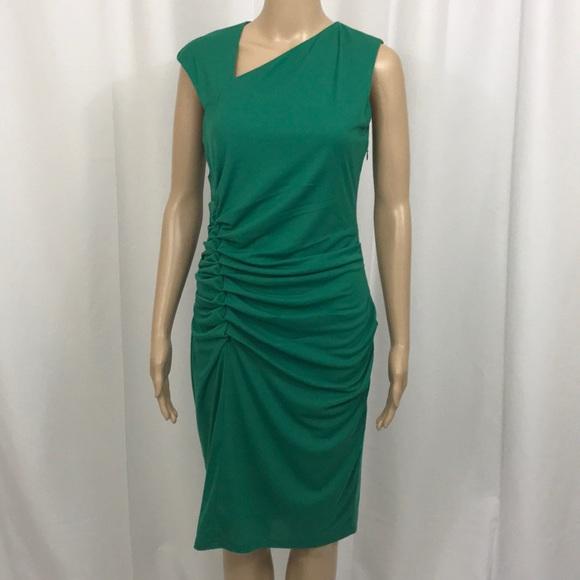 c708dc9e999 NWT Halston Heritage Green Ruched Sleeveless Dress